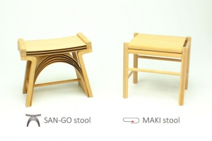 竹薄板合板を用いたスツールの制作