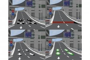 アナモルフォーシスを用いた逆走対策路面立体標示<br />~阪神高速道路11号池田線出入橋IC出口を対象として~