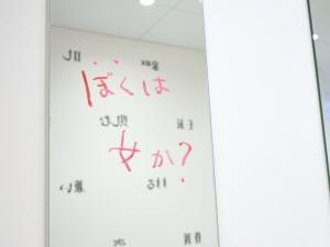 文字は見方を変えるとただの線とかたちだが、性別が分けられているトイレという場所柄で、女偏の漢字が男偏にすり替えられ、さらにそれが「取り払われている」「落ちている」と言語化される状態の作品から感じとってしまう意味